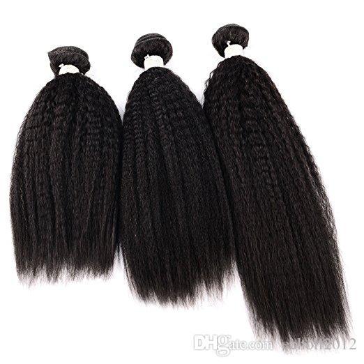 Yaki Hair Bundles Kinky Twist Hair Extensions 100% Natural Material Real Brazilian Virgin Human Hair Pieces 3 Bundles8A Unp
