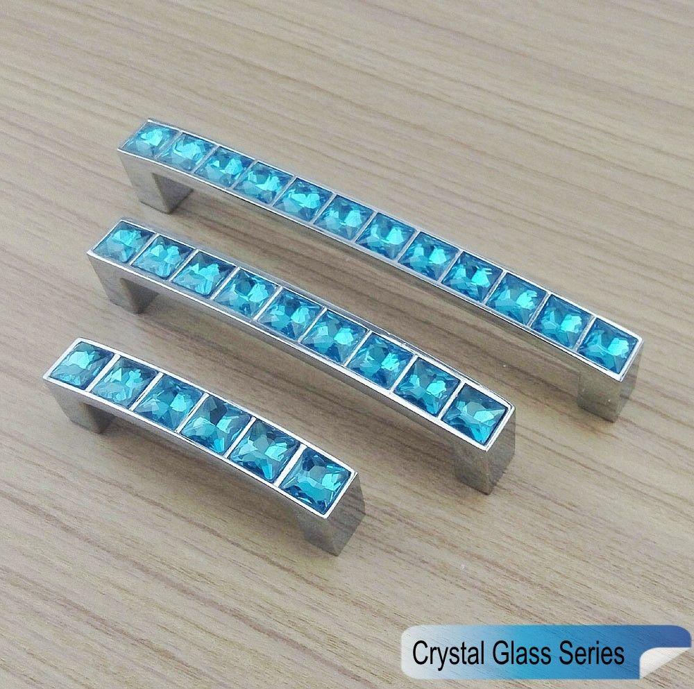 Crystal Glass Series Diamond Light Blue Furniture Handle Door Knobs ...