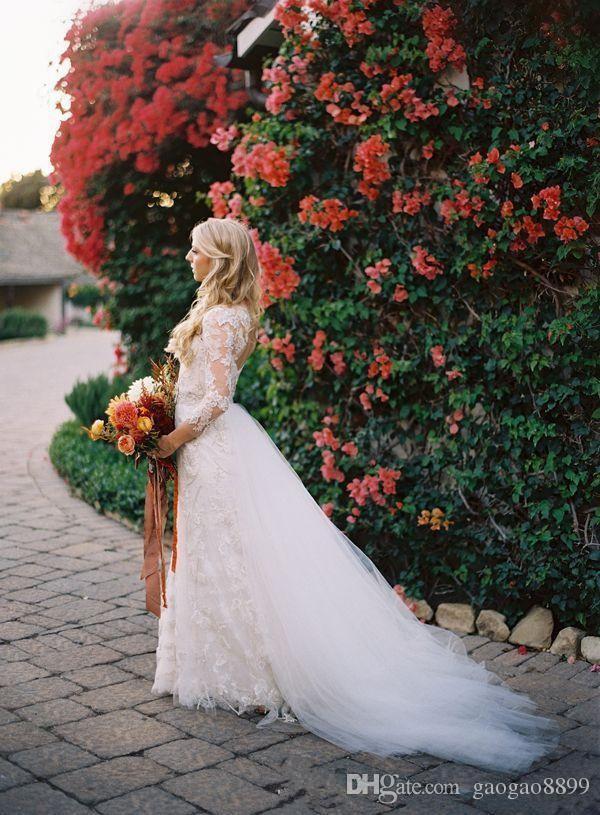 2019 Modest Primavera Mangas Compridas Rendas Vestidos De Casamento com Saia Destacável Sobre Saias Até O Chão Keyhole Voltar Vestidos de Noiva