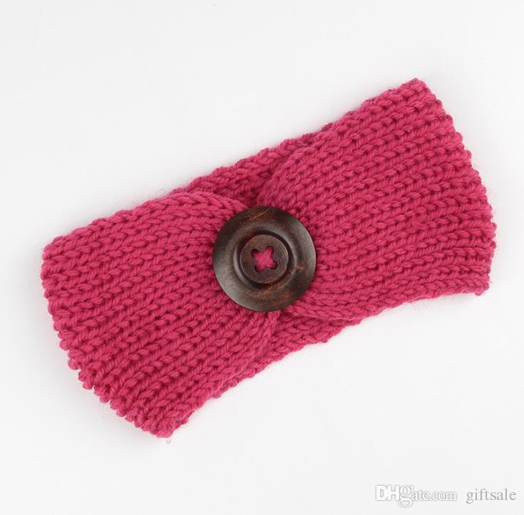 Venta caliente de lana de invierno de punto de la venda del bebé niñas niños recién nacido banda para la cabeza del pelo abrigo turbante sombreros con botón accesorios para el cabello al por mayor
