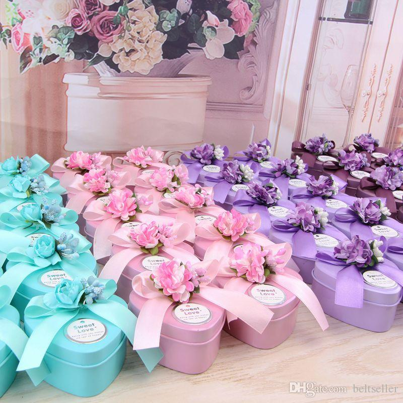 European Style Heart shaped silk ribbon and lavender Candy Box Wedding Favors Holder red pink bllue color 2017 New