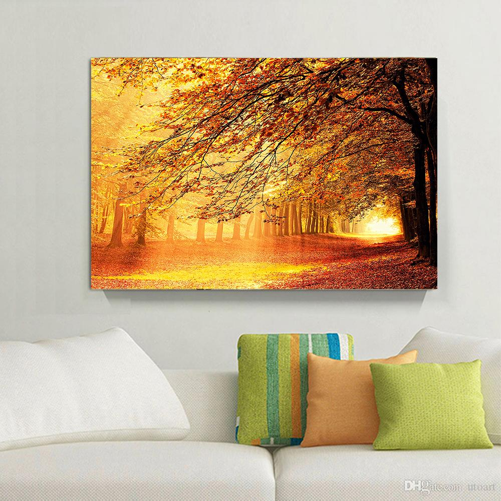 2018 Golden Yellow Forest Landscape Canvas Painting Home Decor Canvas Wall  Art Picture Digital Art Print For Living Room From Utoart, $11.75 |  Dhgate.Com