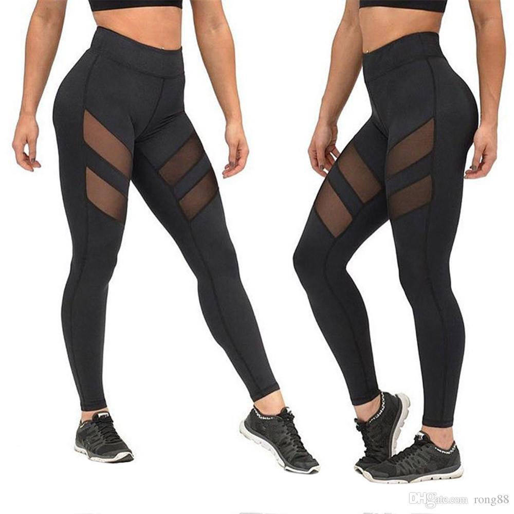 a9d9cee7aca 2017 Leggings Women Mesh Splice Fitness Slim Black Legging Active ...