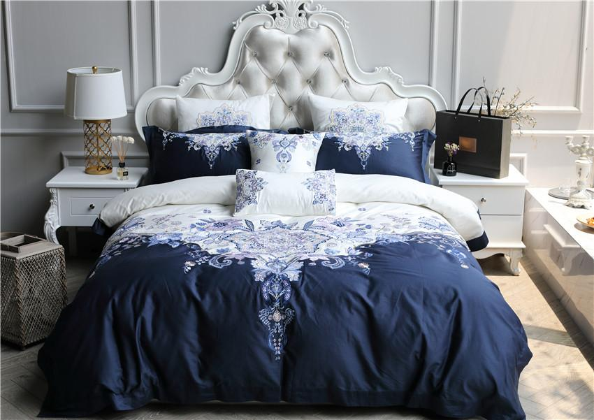 4/White Blue 100s Egyptian Cotton Luxury Royal Bedding Set Oriental  Embroidery Queen King Size Duvet Cover Bed Sheet Set Queen Comforters Duvet  Cover King ...