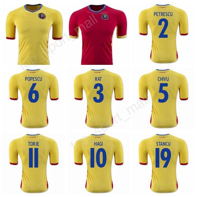 Romania Soccer Jersey 2017 Make Customized Team Red Road Yellow 19 ... 39e6b955fa55