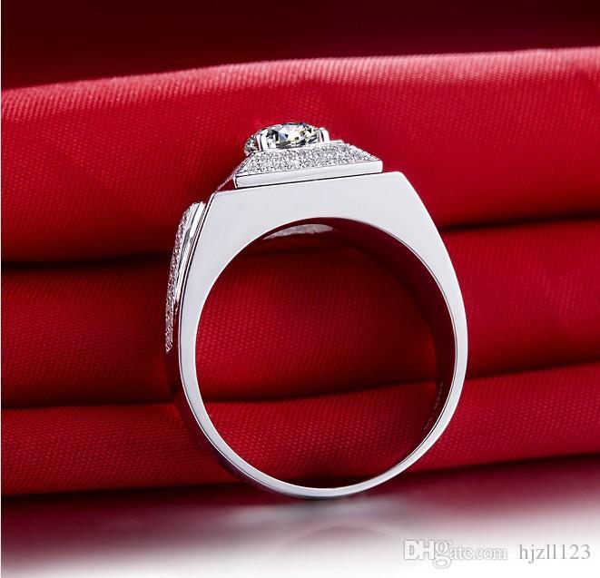 Flaş Parlak 1 ct Man Takı Adam Için Sentetik Elmas Yüzük Düğün Takı Yüzük Nişan Gümüş Beyaz Altın Kaplama