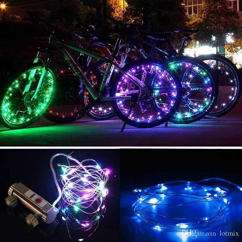 Cable flexible 2M 20 LED Bicicleta Ciclismo Llanta Luz de hada Rueda de la luz Estalló Luz de cadena LED Luz de batería alimentada