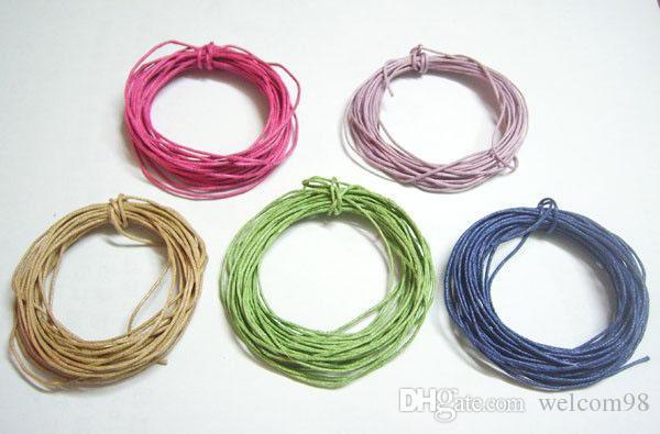 50 metrów / partia 1mm Mieszane Kolory Bawełna Woskowana Przewód Drut Dla DIY Craft Ustalenia Biżuteria Komponenty WC0