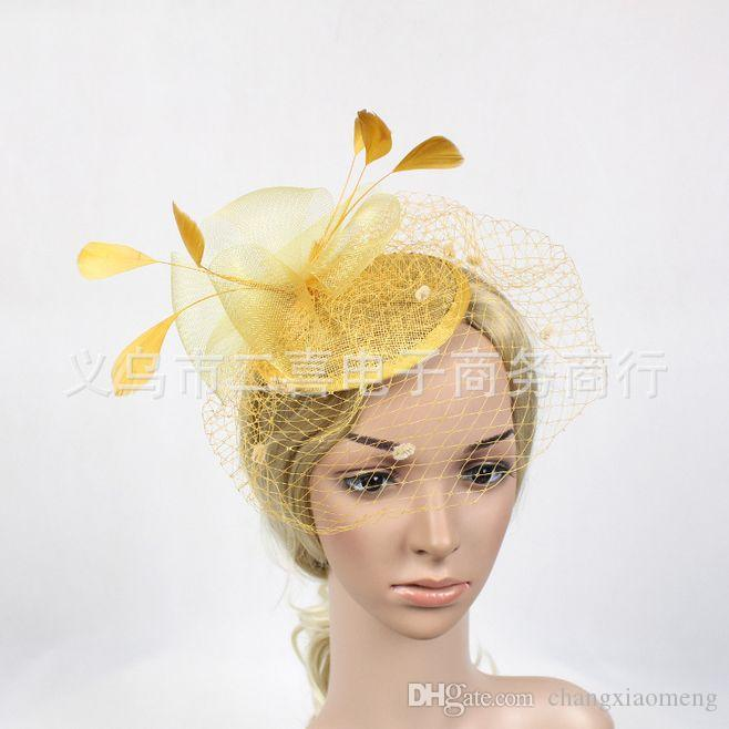 Bridal Veil Accessories Feathers Hat Clip Accessories For Christmas Party Wedding Dresses veil Hair Wear Elegant white Gold blue