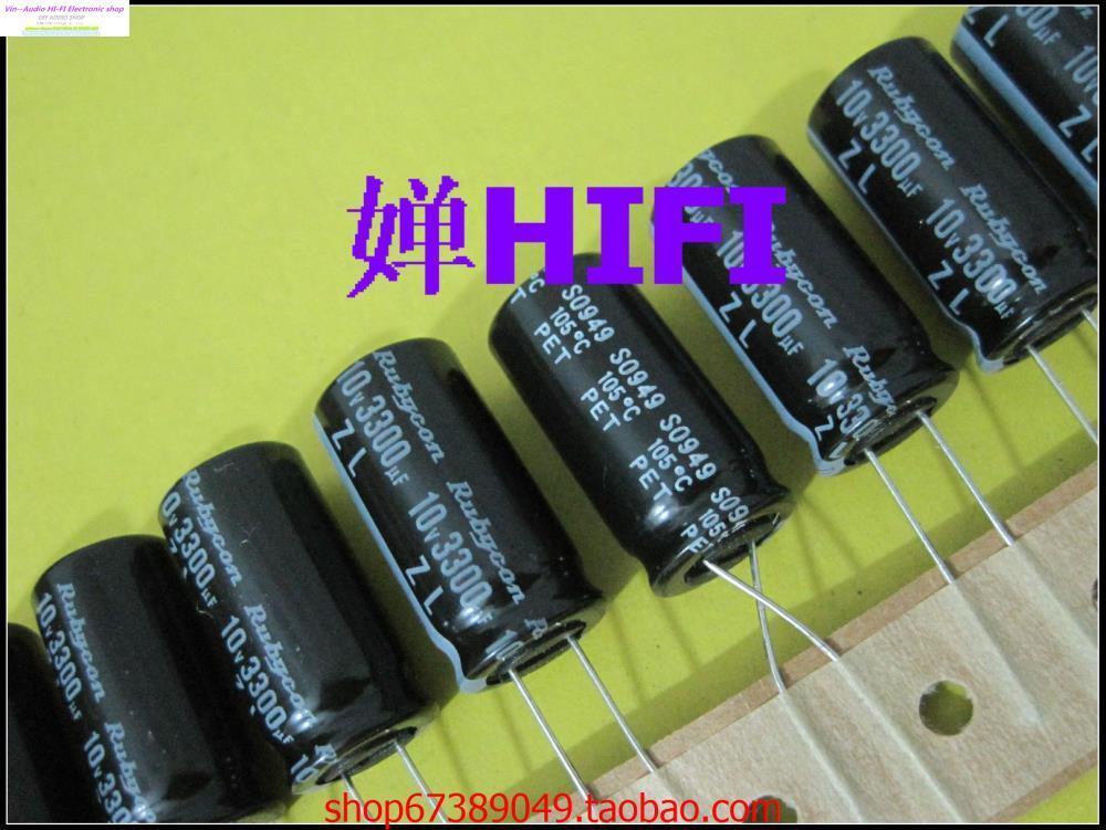 Wholesale- 2015 Black Supercapacitor Hole 10PCS New Japan Rubycon Zl  Genuine Rubies Electrolytic Capacitor 10v3300uf 12 5x25 Free Shipping