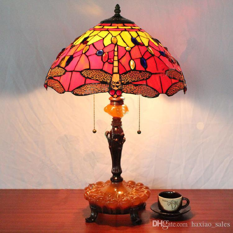 Best quality european style old castle dragonfly bead tiffany table lamp living room bedroom bedside desk lamp red glass lampshade table light at cheap