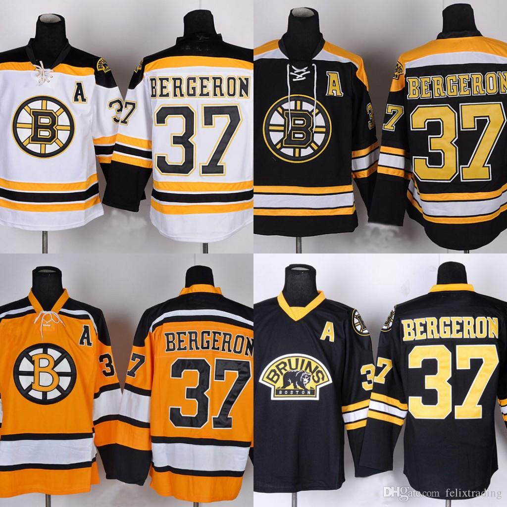new concept 4ee6c 8c540 #37 Patrice Bergeron Jersey Boston Bruins Hockey Jerseys Patrice Bergeron  Jersey High Quality Stiched Free Shipping