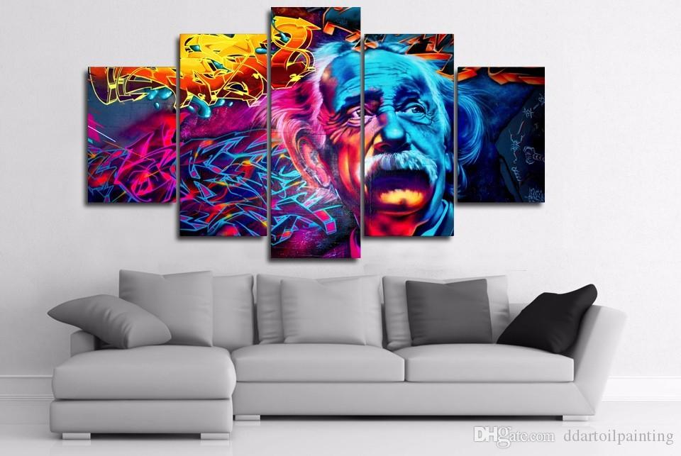 Wholesale New Arrival 5 Panels abstract Einstein Portrait HD Canvas Pictures for Living Room Decoration Hang Paintings No Frame
