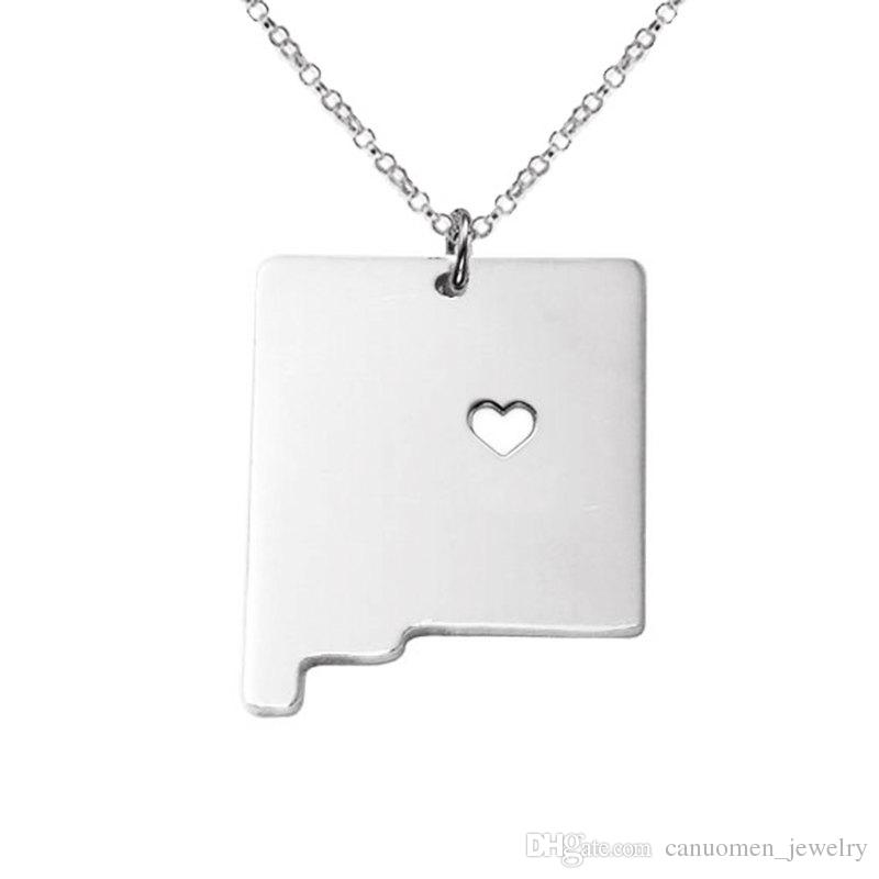 New mexico Map Stainless Steel Pendant Necklace with Love Heart USA State NM Geography Map Necklaces Jewelry for Women and Men