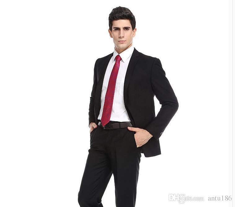 Son erkekler klasik erkekler düğün smokin takım elbise siyah yaka tek göğüslü sağdıç resmi takım elbise ceket + pantolon