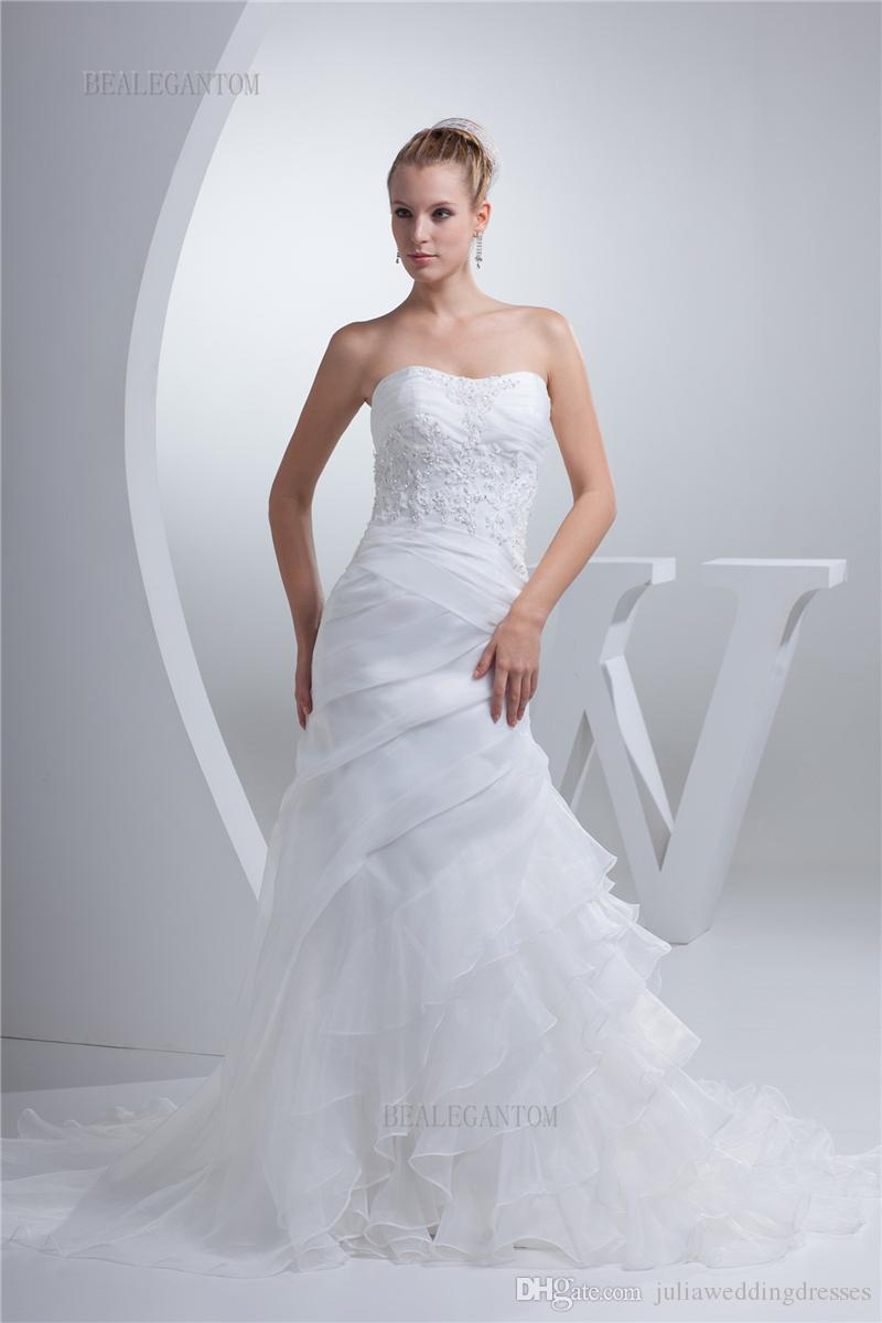 79c91dccf4 2017 Hot Sale Sweetheart Organza Mermaid Wedding Dresses Appliques Lace Up  Cheap Vintage Plus Size Bridal Gowns BM43 The Perfect Wedding Dress The  Wedding ...