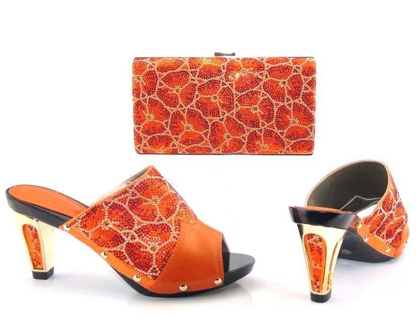17041705 Orange African Women Matching Italian Shoe And Bag Set Decorated  with Rhinestone Nigeran Shoe with Matching Bag Set for Parties Shoes And Bag  Set ... 40d41671f731