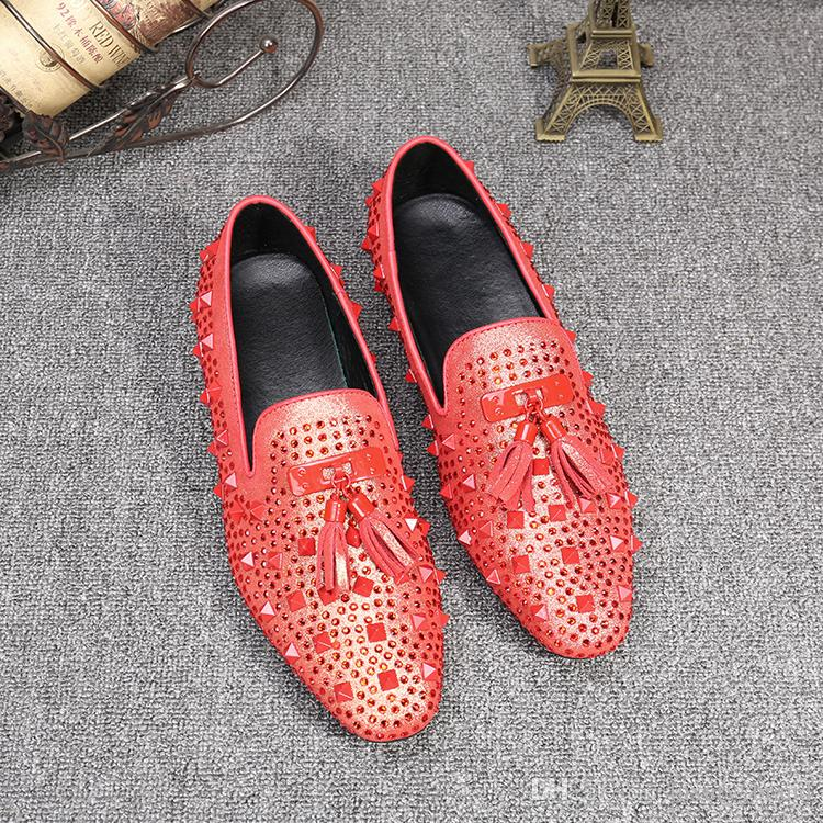 daa39f639a78 Plus Size 37-47 Bling Rhinestone Men Brand Cow Leather Shoes Pointed ...