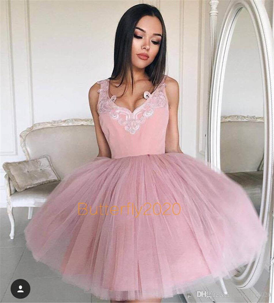 Compre Blush Rosa Corto Homecoming Vestidos V Cuello Barato Puffy ...
