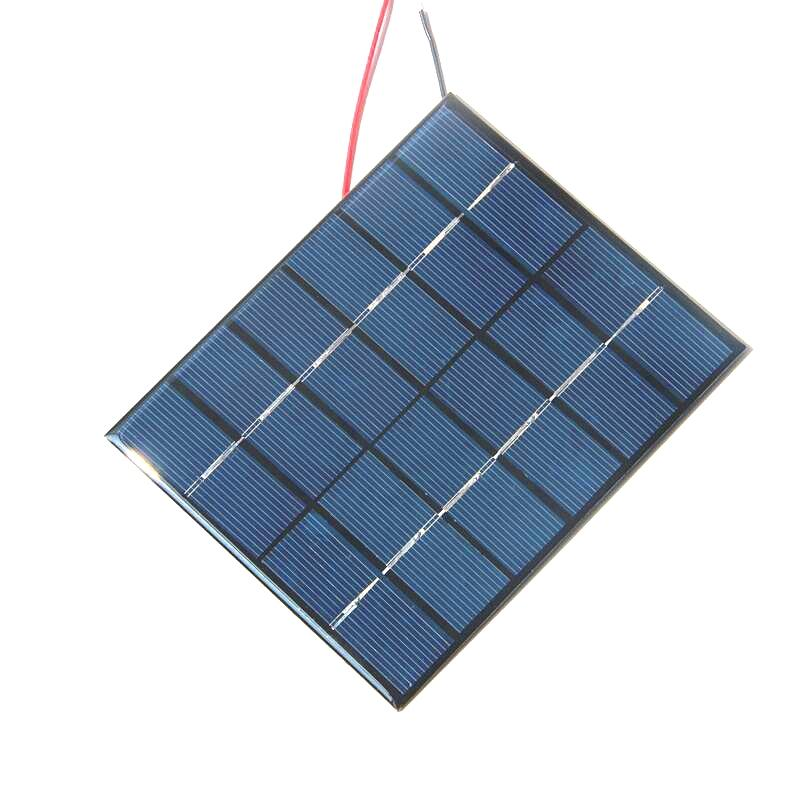 BUHESHUI 2W 6V Epoxy Solar Cell Polycrystalline Solar Panel Module+Cable DIY System Solar Charger Study Education 136*110MM