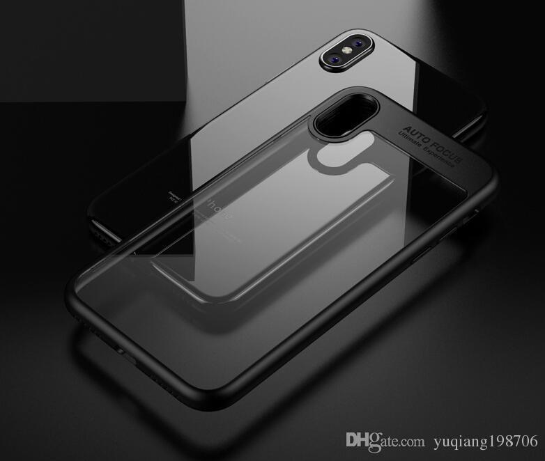 para iPhone X Clear TPU + PC Dual Material Clear Cell Phone Cases Cubierta de protección de acrílico duro suave para iPhone X plástico