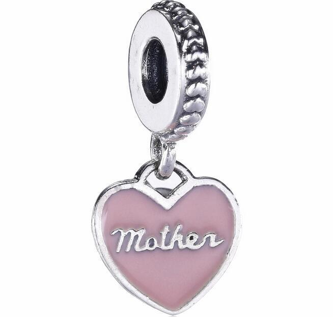 Mother Day Heart Drop Charm Fit For Pandora Bracelet Diy Bead Charm