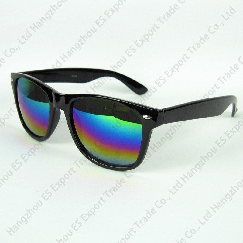 Claro Stock Viaje Gafas de sol Moda Gafas de sol Marco de plástico Plegable Negro y azul Impresión floral Impresión de colores