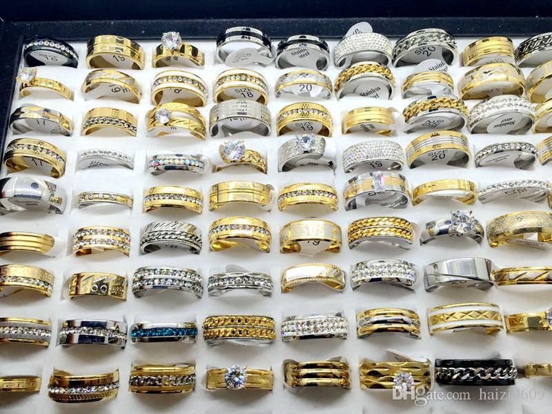 Atacado Lotes Top Rhinstone Zircon Placa De Prata Placa De Ouro de Aço Inoxidável Anel Para Presente de Casamento das Mulheres dos homens Anel de Jóias