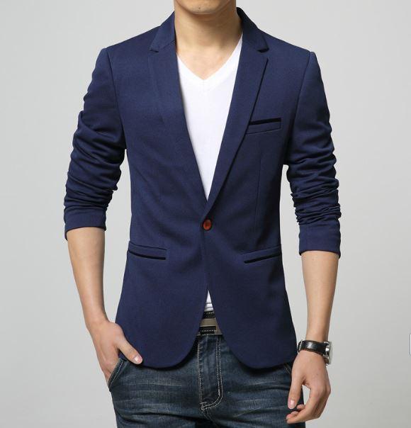 Mens coreano slim fit moda blazer de algodão terno jaqueta preta azul bege plus size masculino blazers Mens casaco vestido de noiva