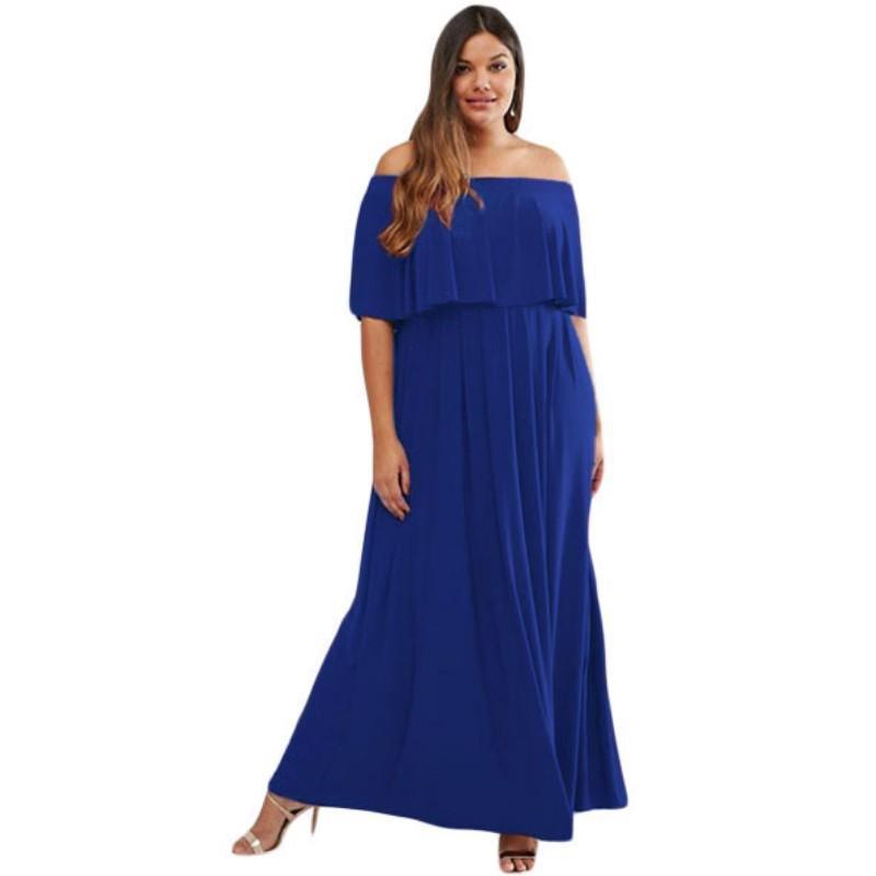 Compre 2017 Los Vestidos Largos Del Azul Real Más El Xxxl Xxl Xl Del ...