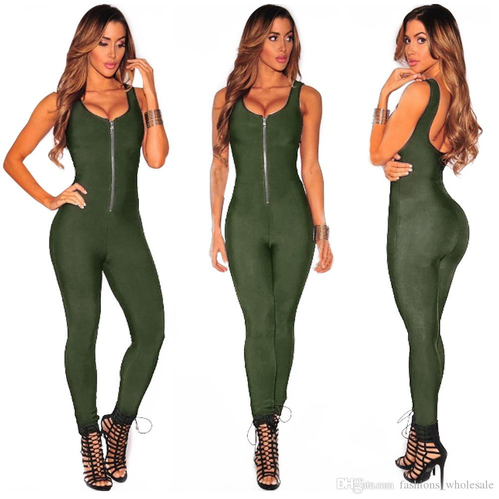 05c47f894e5 2019 2017 Hot New Fashion Women Jumpsuits Full Length Pants Solid Sexy  Zipper Sleeveless Rompers In Stock From Fashions wholesale