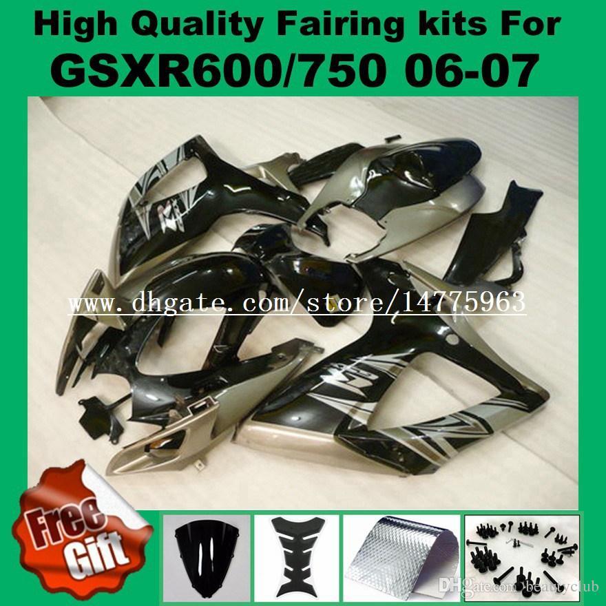 Painted yellow black fairing kits for SUZUKI GSXR600 06 07 GSXR750 K6 K7 GSX-R600 GSX-R750 2006 2007 GSXR 600 750 06 07 #V52J fairings kit