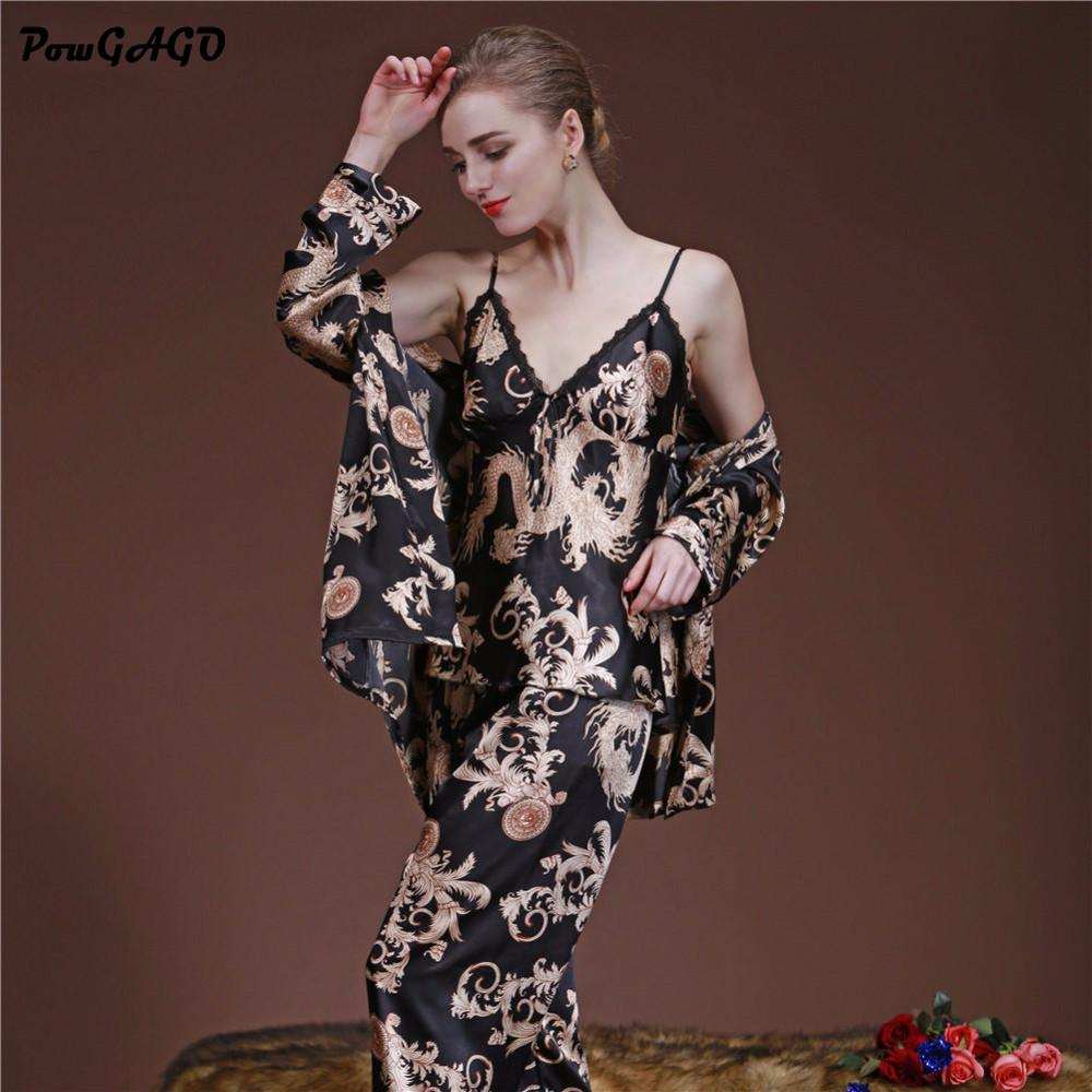 84859e57ad 2019 Wholesale Luxury Chinese Dragon Pajama Sets Silk Satin Pajamas Set  Sexy Sleepwear Loungewear Women Spring Summer Home Clothing From Hoto