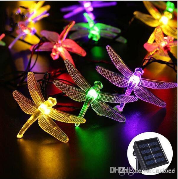 20//30 LED Solar Lichterketten Libelle wasserdicht Garten Beleuchtung Party Lampe