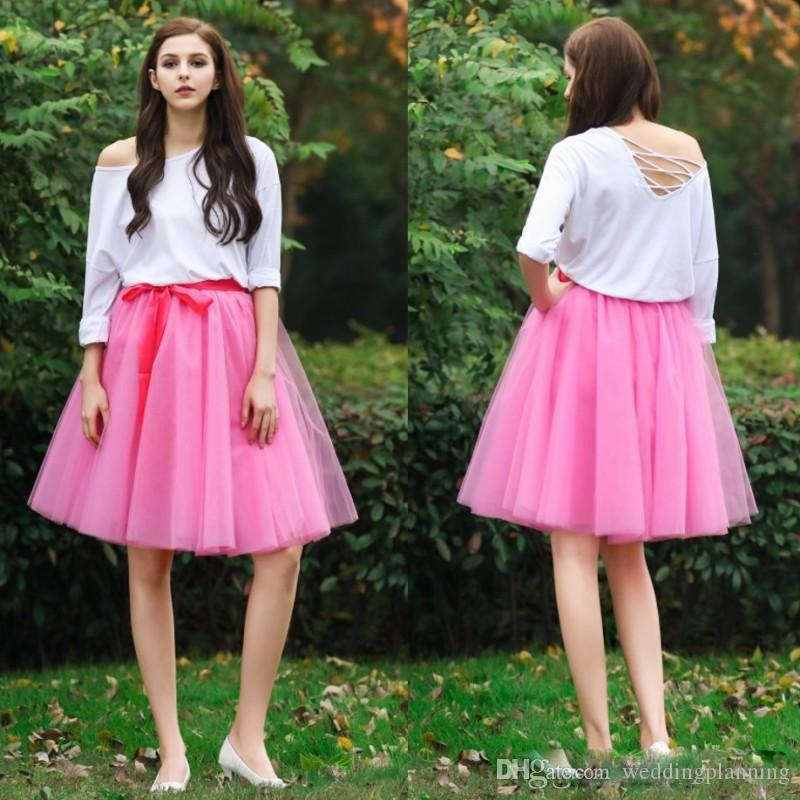 Short Custom Made Tutu Skirts With Ribbon Sashes New 2017 Knee Length Puffy Women Skirt Girls Beautiful Cheap Party Dress