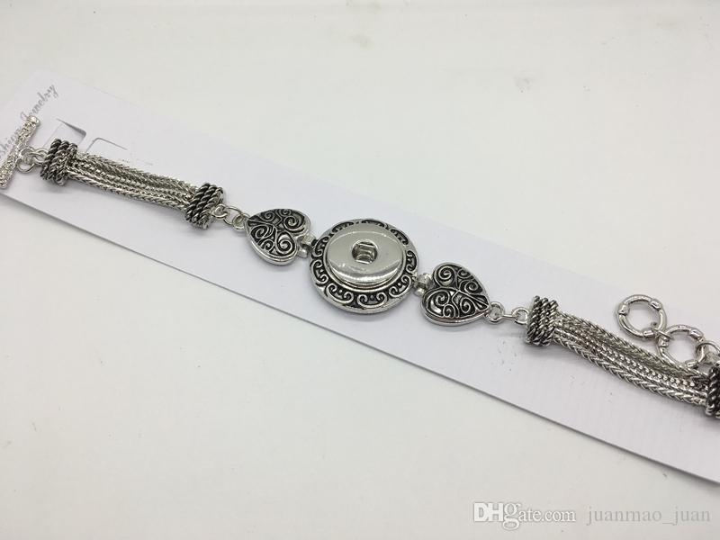 Frauen Fahion viel Druckknopf Herz Antik Silber Armband Fit 18mm Snaps Chram Diy Noosa Ingwer Snap Schmuck