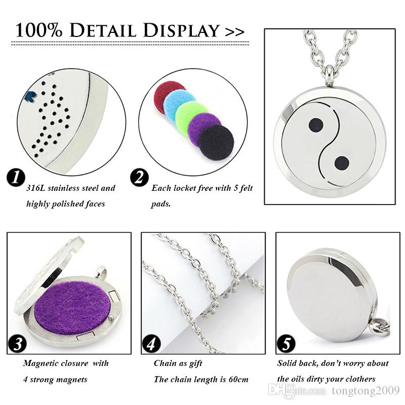 With Chain as Gift! New Fashion Magnetic Aroma Locket Pendant 316L Stainless Steel Perfume Diffuser Locket Necklace