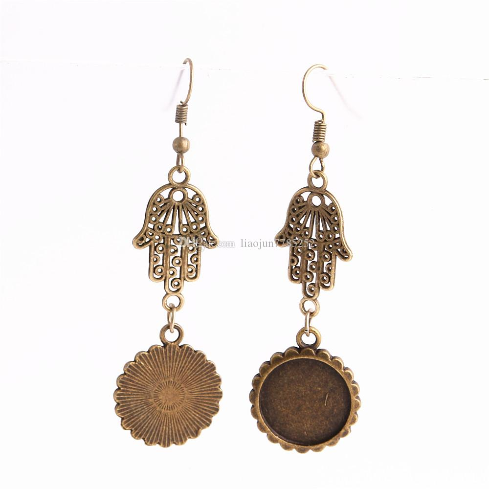 SWEET BELL Metal Alloy Zinc Hamsa Hand Charm Fit round 16mm Cabochon Set Pendant Drop Earing Jewelry Making C0805