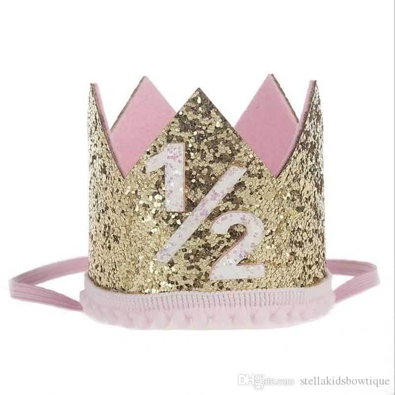 Coroa de ouro Do Bebê Meninas Chapéu de Aniversário Glitter Número 1ª Crianças Meninas Aniversário Headband Da Coroa de Presente de Aniversário Do Cabelo Recém-Nascido Accesorry