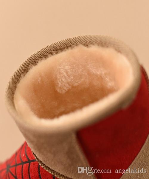 Stivali invernali bambini Cartone animato in lana di cotone Scarpe Stampato con vita Principessa Stivali caldi Cartoon Girl Style Short Baby Snow Shoes