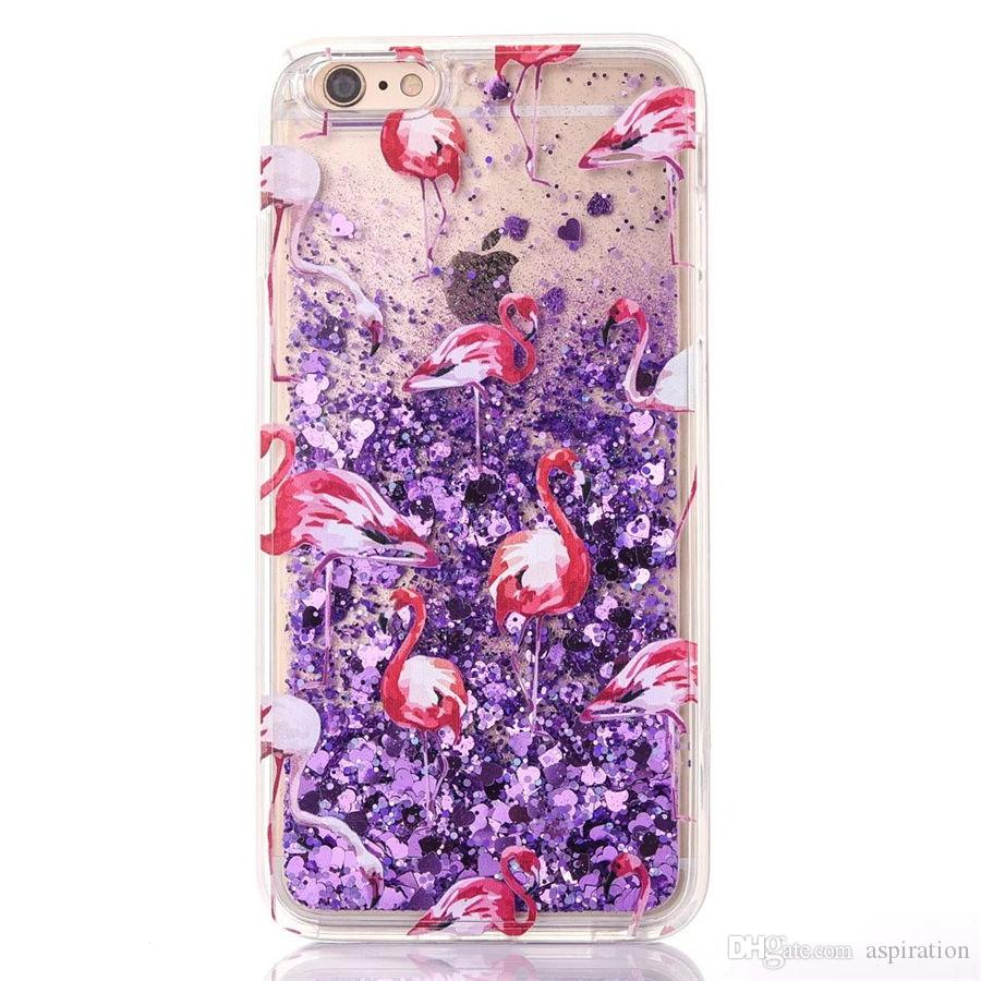 Luxury Bling Glitter Quicksand Liquid Case Cover for Apple iphone 6 6S 7 Plus Dynamic Moving Sand Shockproof Transparent Protective Shell