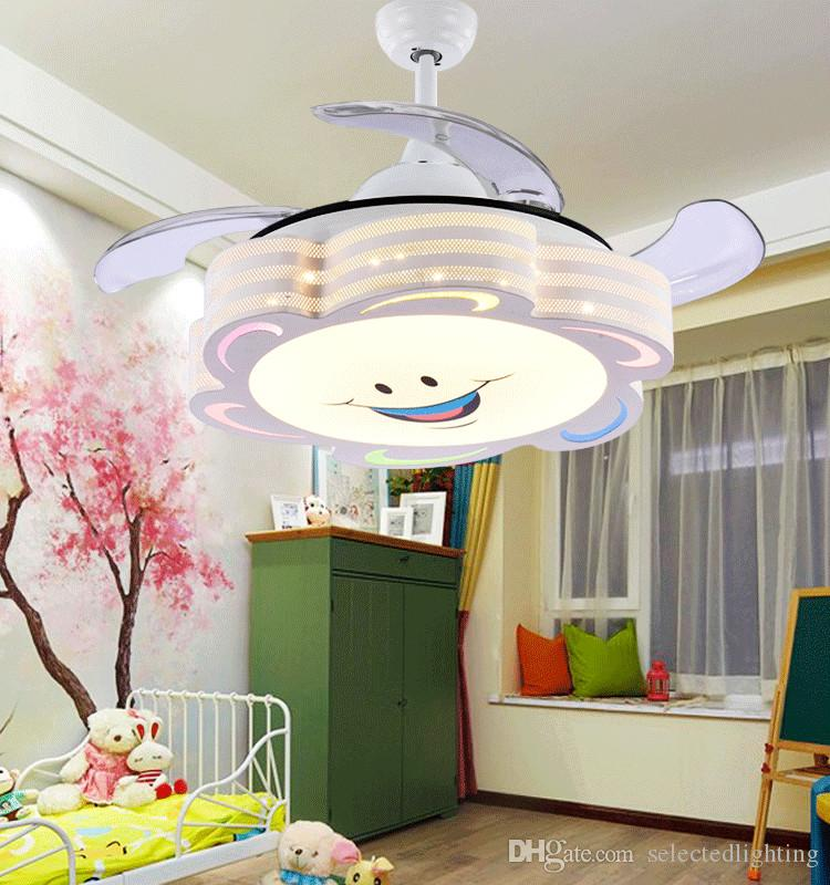 Merveilleux 2018 Ceiling Fans Remote Control Modern Retractable Blades Led Ceiling Fan  Dimmable Lights Cartoon Painting 36inch 110v 220v Kids Lighting From ...