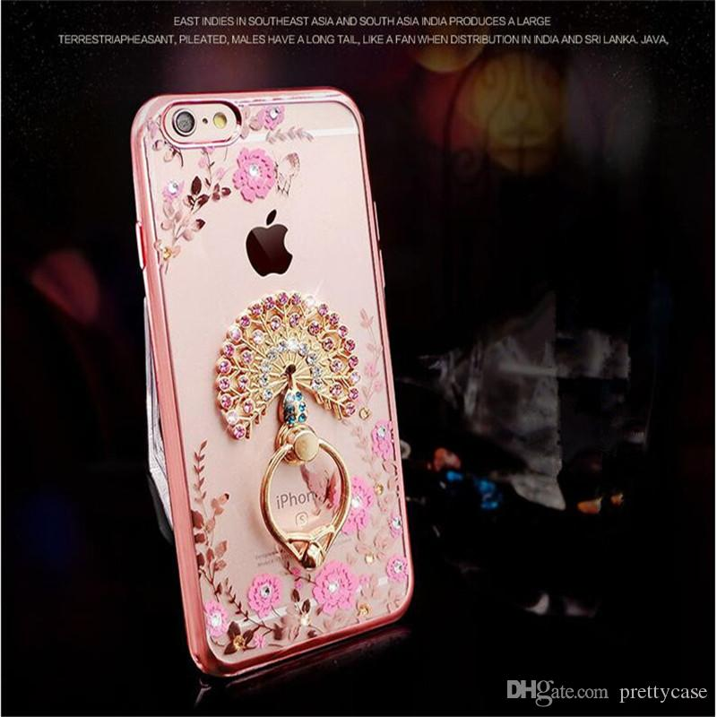 Luxury Electroplating Bling Diamond Glitter Case Ring Holder Kickstand Soft  TPU Cases Back Cover For iPhone X 8 7 plus 6 6s plus 5s se