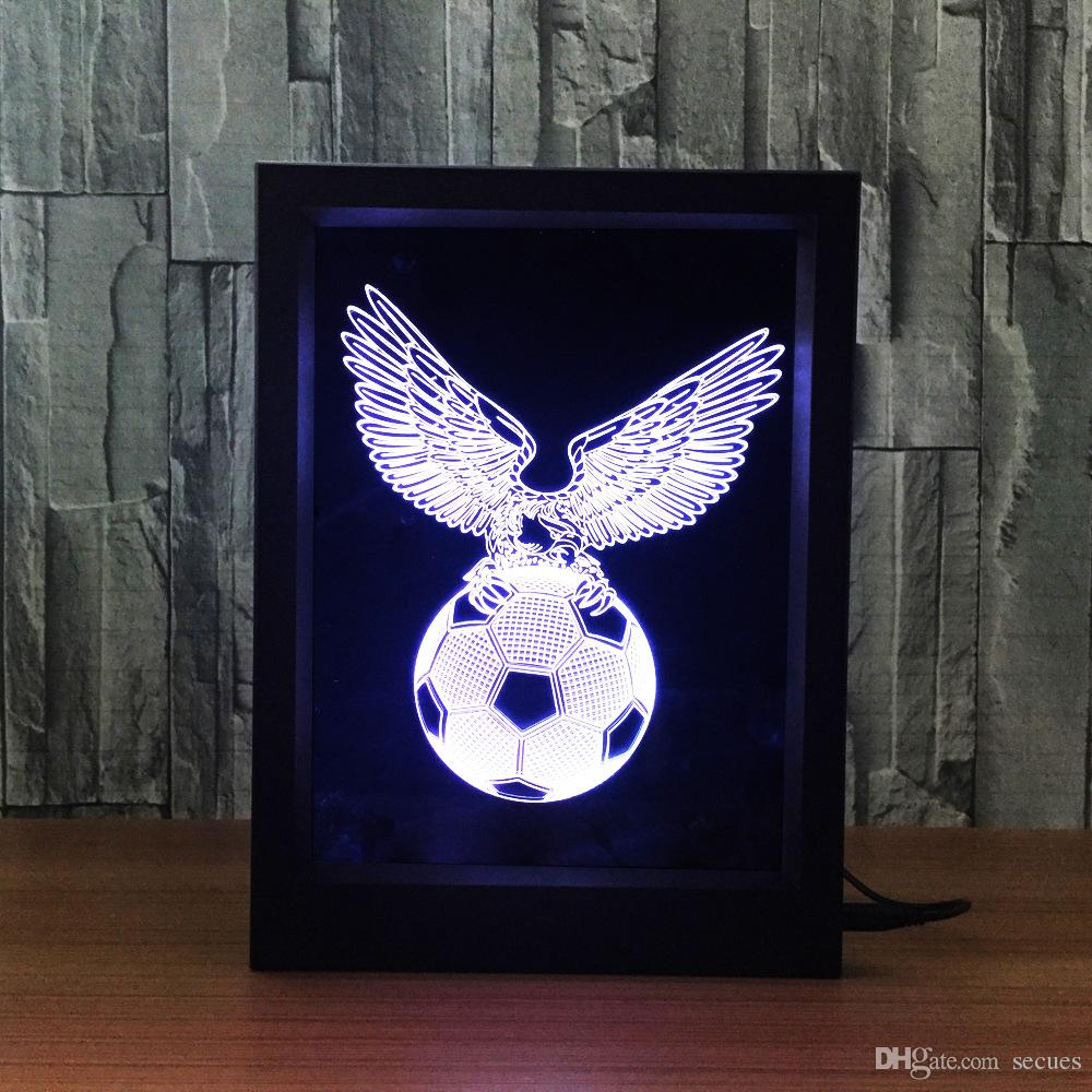 3D Football Eagle LED Photo Frame IR Remote 7 RGB Lights Battery or DC 5V Factory Wholesale Dropship