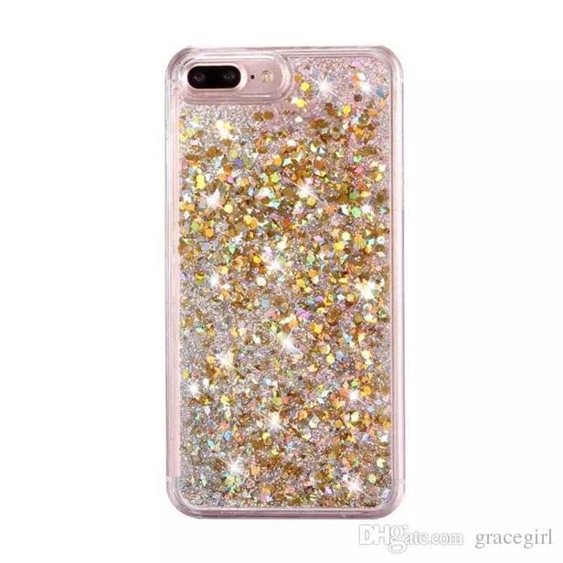 Quicksand líquido diamante plástico rígido pc case para iphone x xs 8 7 i7 iphone7 6 mais 6 s bling glitter folha de ouro estrela do telefone da pele cobrir