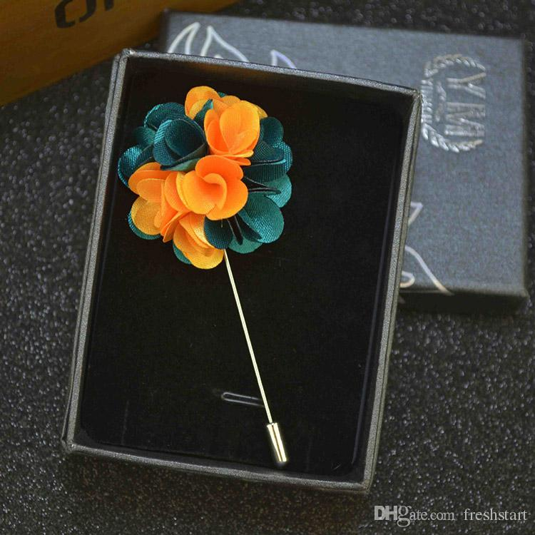 Multicolor Flower Brooch Handmade Boutonniere Stick Brooch Pin for Men Women Suit Lapel Pin Brooches