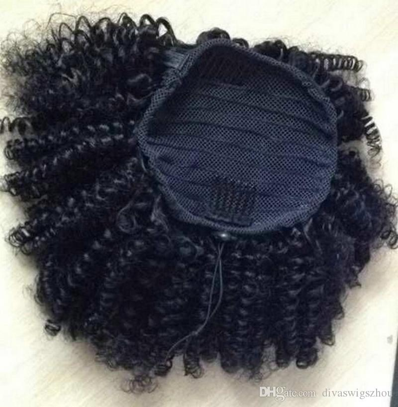 12inch Human Hair Afro Puff Kinky Curly Ponytail Extensions for Black Women Kinky Curly Drawstring Ponytail Hairpieces Natural Curly 120g