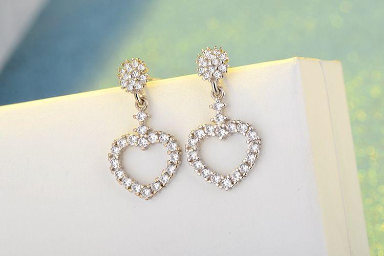 Мода блеск 925 серебряные серьги полный Кристалл сердце любовь кулон очарование Стад серьги для женщин ювелирные изделия Рождественский подарок ED295
