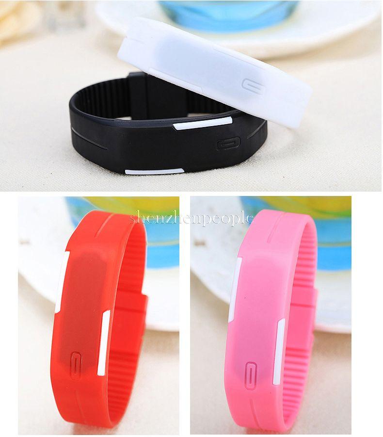 2015 2016 sport rettangolo led display digitale touch screen orologi cinturino in gomma braccialetti in silicone orologi da polso 2015