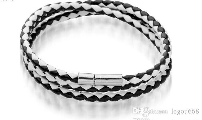2014 Nya Mode Läderarmband Bangles Handgjorda Stickat Rund Rope Vrid spänne Armband för Kvinnor Män Partihandel Svart Long Sl018